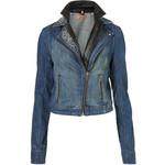 Moto Premium Sparkle Denim And Leather Jacket