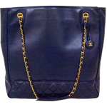 Chanel - Vintage CHANEL PARIS 1990's era Dark navy leather large tote bag