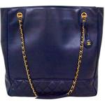 Chanel - Vintage CHANEL PARIS 1990's era Dark navy leather large tote bag