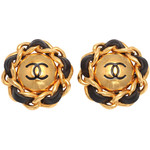 CHANEL - CHANEL BLACK/GOLD CHAIN CC EARRINGS