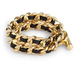 Saffiano Leather and Chain Double Wrap Bracelet