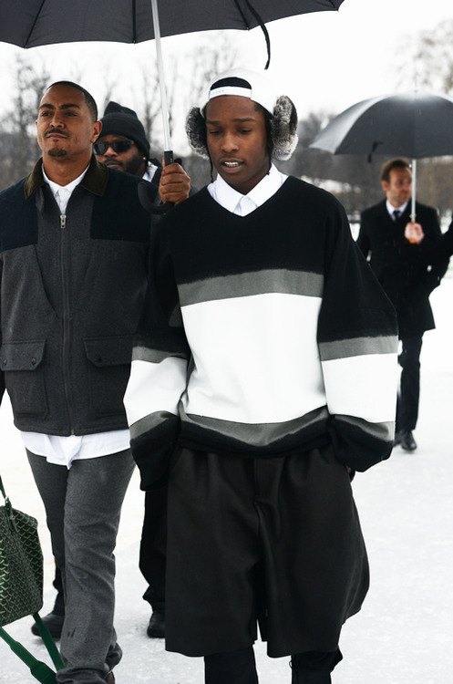AAP-Rocky-wearing-Shaun-Samson-Earmuffs-Oversized-Top-and-Shorts-Front-Row-at-Dior-Couture-Spring-2013-Runway-Show