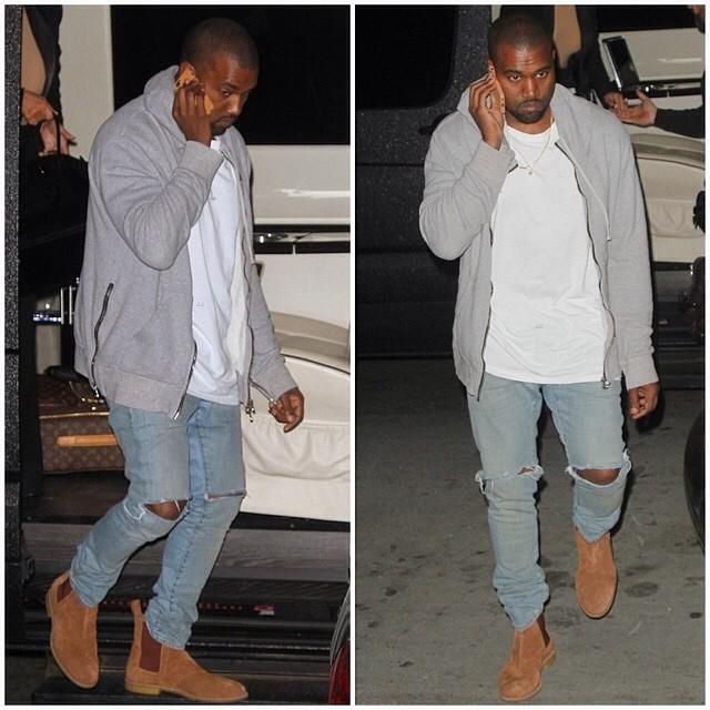 kim-kardashian-kanye-west-arrive-in-nyc-wearing-Balmain-hoodie-light-denim-jeans-and-bottega-veneta-brown-buffalo-leather-ankle-boot-shoes-77