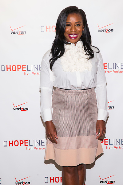 NEW YORK, April 29, 2015 - Award-winning actress Uzo Aduba joined Verizon's HopeLine program today to take action against domestic violence. Together they announced a goal of collecting 1 million phones this year to support victims of domestic violence. Visit www.verizon.com/about/hopeline to learn more. Insider Images/Andrew Kelly (UNITED STATES)