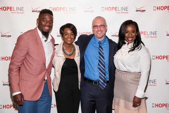 NEW YORK, April 29, 2015​ - ​Professional football player William Gay​, ​Verizon's Rose Kirk, Safe Horizon's Juanito Vargas and award-winning actress Uzo Aduba​ teamed up with Verizon's HopeLine program today to take action against domestic violence. Together they announced a goal of collecting 1 million phones this year to support victims of domestic violence.​ ​Visit www.verizon.com/about/hopeline​ to learn more.​  Insider Images/Andrew Kelly (UNITED STATES)