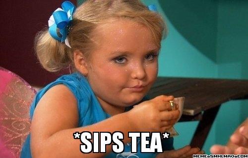 Lil' Mimi sips tea...