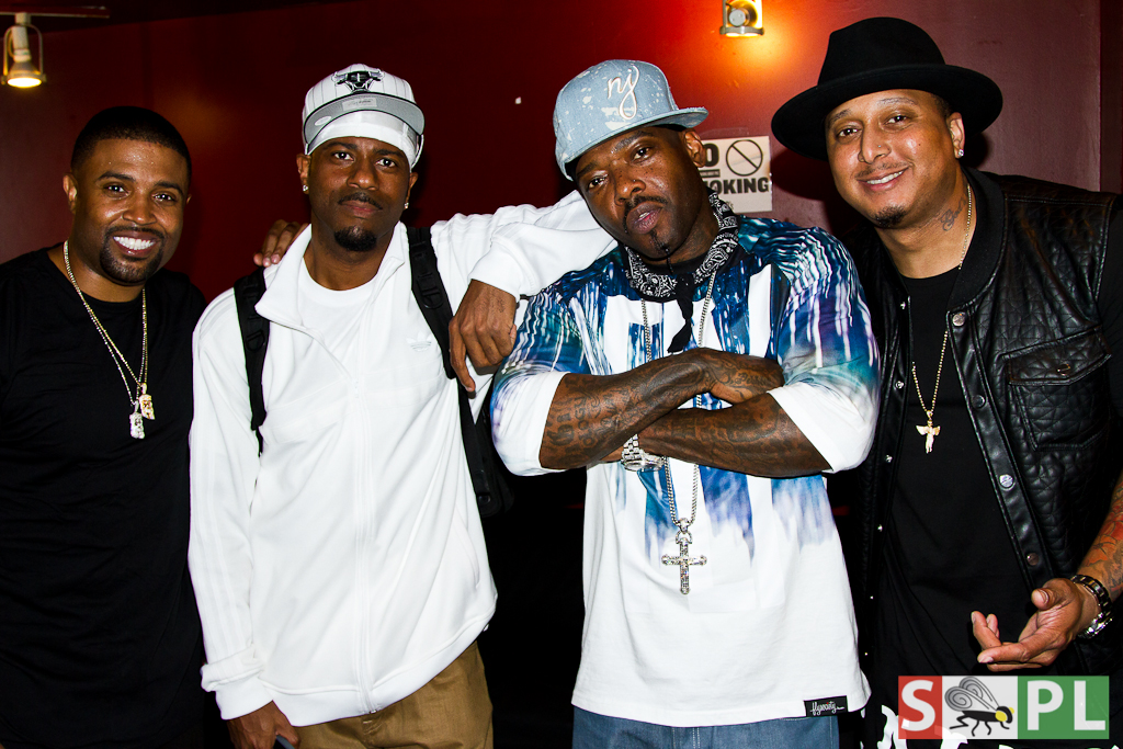 (l to r: RL, DJ Kay Gee, Treach & Gabriel Williams backstage at SOB's)