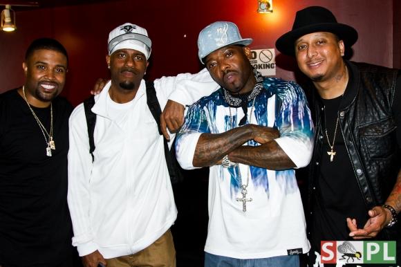 (l to r: RL, DJ Kay Gee, Treach & Gabriel Williams backstage at SOB's)