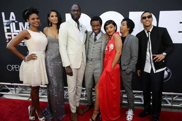 "Kimberly Elise, Chanel Iman, Director/Writer/Executive Producer Rick Famuyiwa, Shameik Moore, Kiersey Clemons, Tony Revolori and Quincy Brown seen at Open Road Films Los Angeles Premiere of ""Dope"" in partnership with the LA Film Fest on Monday, June 8, 2015, in Los Angeles. (Photo by Eric Charbonneau/Invision for Open Road Films/AP Images)"