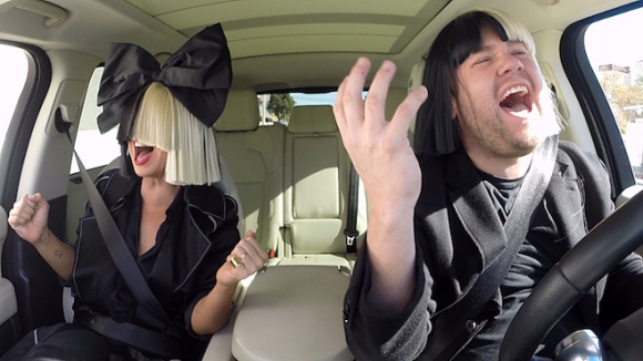 "Sia joins James Corden for Carpool Karaoke on ""The Late Late Show with James Corden,"" airing Monday, February 15th, 2016 on The CBS Television Network. Screen grab. ©2016 CBS Broadcasting, Inc. All Rights Reserved"
