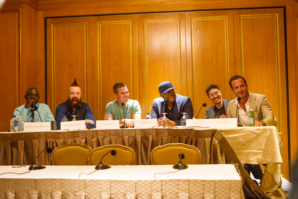 L to R: Gary Anthony Williams, Stephen Sheamus Farrelly, Stephen Amell, Tyler Perry, Brian Tee and Will Arnett