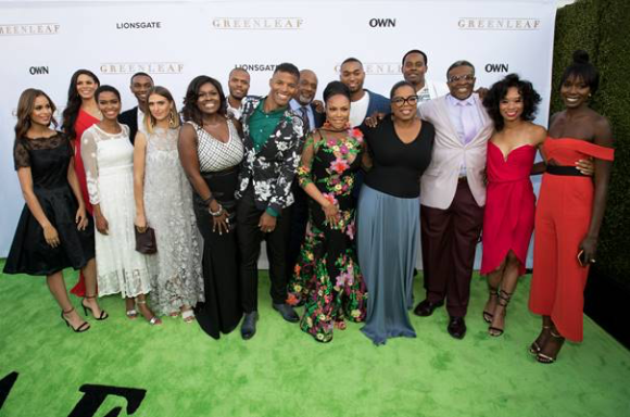 "L-R - Desiree Ross, Merle Dandridge, Kim Hawthorne, Zachary S. Williams, Kristin Erickson, Debra Joy Winans, Deji LaRay, Benjamin Patterson, GregAlan Williams, Lynn Whitfield, Tye White, Oprah Winfrey, Keith David, Terri Abney, and Anna Diop at OWN: Oprah Winfrey Network Los Angeles Premiere of ""Greenleaf"""