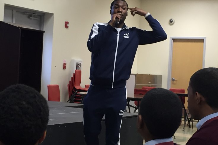 Philly-born rapper Meek Mill visited Boys Latin Charter School in West Philadelphia. HAYDEN MITMAN /FOR PHILLYVOICE