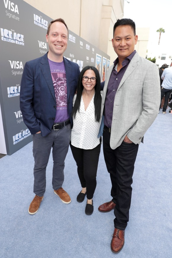 """Director Mike Thurmeier, Producer Lori Forte and Director Galen T. Chu seen at Twentieth Century Fox """"Ice Age: Collision Course"""" Friends and Family Screening at Zanuck Theater on Saturday, July 16, 2016, in Los Angeles. (Photo by Eric Charbonneau/Invision for Twentieth Century Fox/AP Images)"""