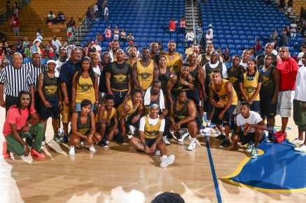 Celebrities and players pose for a group photo after the conclusion of The 14th annual Duffy's Hope Celebrity Basketball Game Saturday, August 06, 2016, at The Bob Carpenter Sports Convocation Center, in Newark, DEL. Proceeds will benefit The Non-Profit Organization Duffy's Hope Youth Programming.