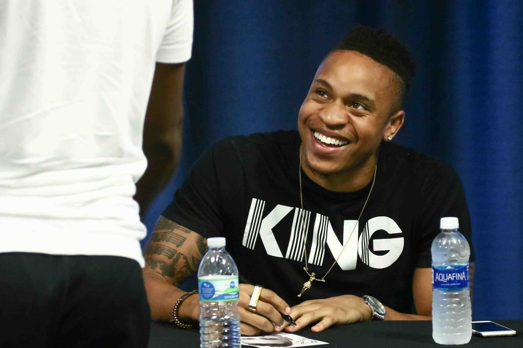 Actor Rotimi reacts to a fan while signing a autographs during The 14th annual Duffy's Hope Celebrity Basketball Game Saturday, August 06, 2016, at The Bob Carpenter Sports Convocation Center, in Newark, DEL. Proceeds will benefit The Non-Profit Organization Duffy's Hope Youth Programming.