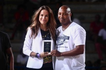 Duffy Samuels, right, presents Ashley Biden, daughter of Vice President Joseph R. Biden Jr with a hometown hero award during The 14th annual Duffy's Hope Celebrity Basketball Game Saturday, August 06, 2016, at The Bob Carpenter Sports Convocation Center, in Newark, DEL. Proceeds will benefit The Non-Profit Organization Duffy's Hope Youth Programming.