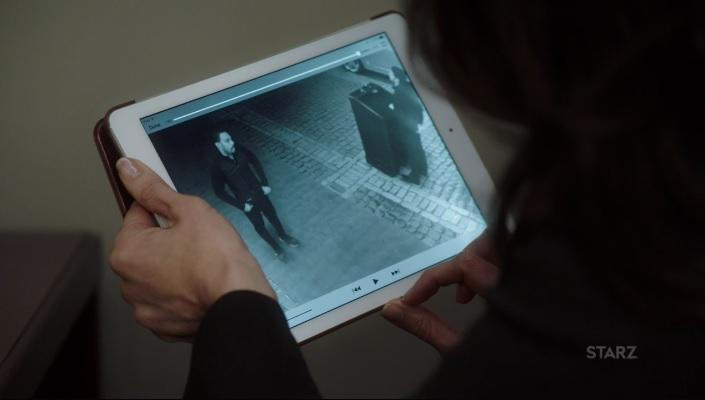 Angela going over surveillance footage Power Season 3, Episode 308