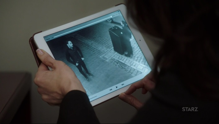 Angela going over surveillance footage Power Season 3, Episode 308