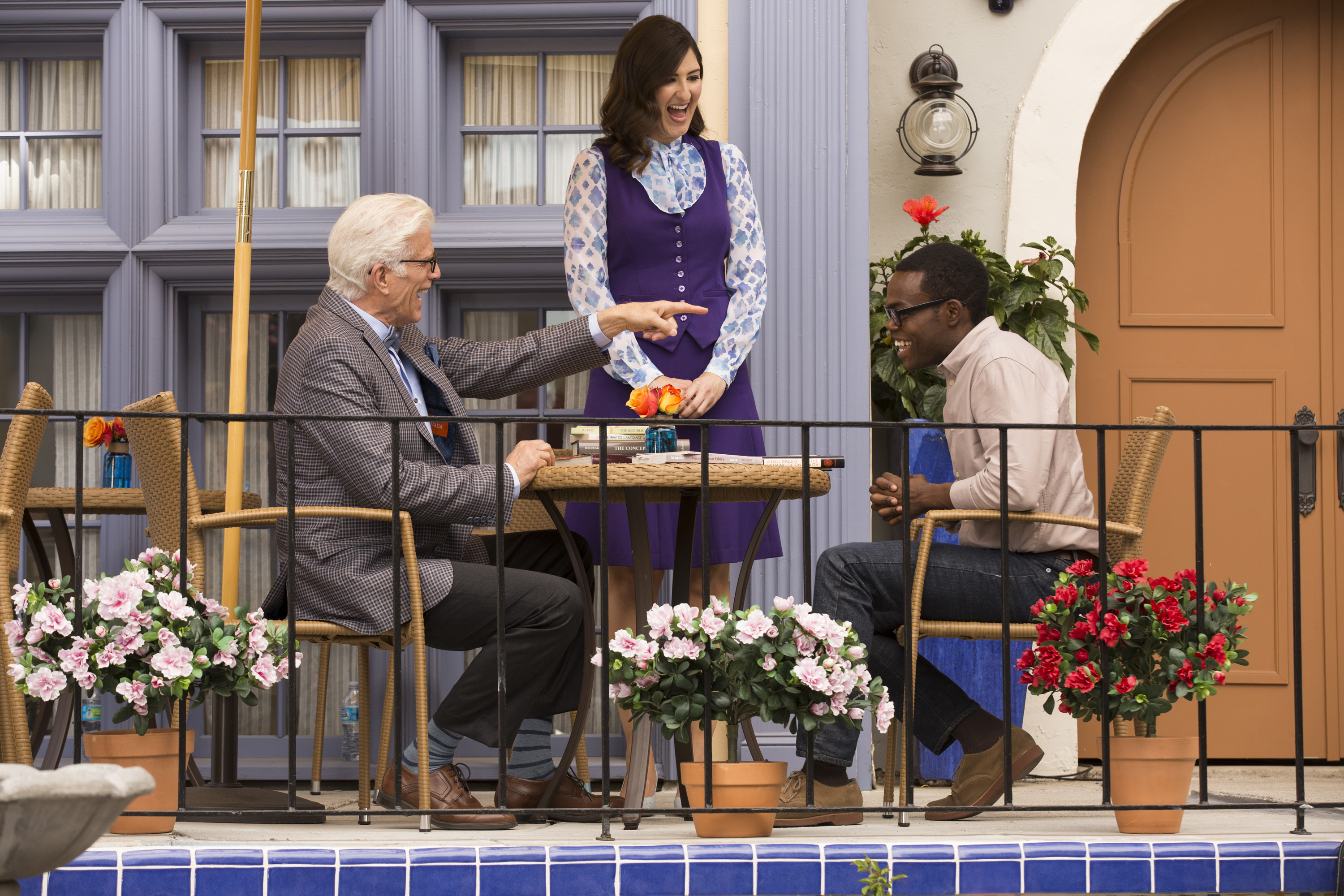 "THE GOOD PLACE -- ""Tahani Al-Jamil"" Episode 103 -- Pictured: (l-r) Ted Danson as Michael, D'Arcy Carden as Janet, William Jackson Harper as Chidi -- (Photo by: Justin Lubin/NBC)"