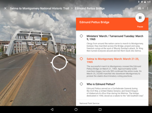Screenshot from the new Google Expedition highlighting the Selma to Montgomery National Historic Trail, which commemorates the events, people and route of the 1965 Voting Rights March.