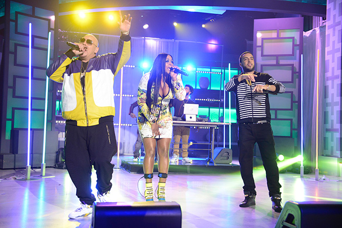 """Fat Joe, Remy Ma, and French Montana performing """"All The Way Up"""" on The Real."""
