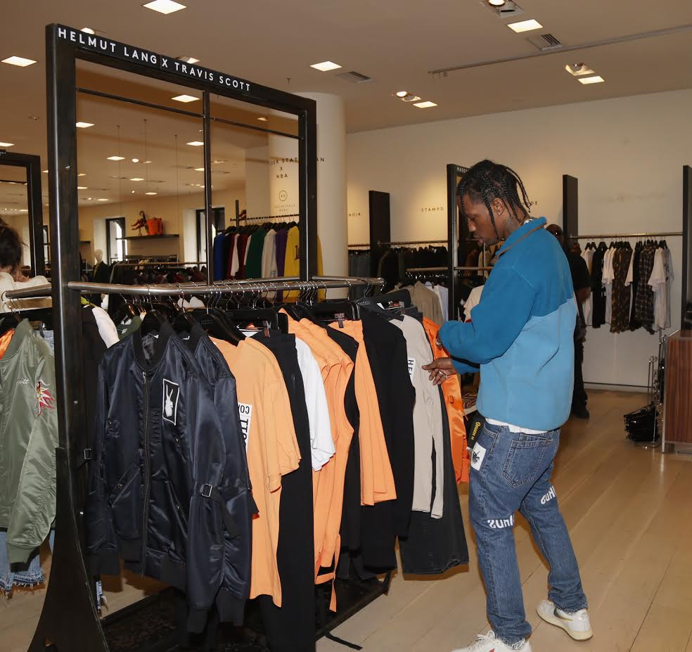 BEVERLY HILLS, CA - JANUARY 30: Travis Scott appears at Barneys New York in Beverly Hills to view his Helmut Lang X Travis Scott collection at Barneys New York on January 30, 2017 in Beverly Hills, California. (Photo by Jerritt Clark/Getty Images for Barneys New York)